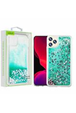 Airium Apple iPhone 11 PRO- Airium Hearts & Green Quicksand Glitter Hybrid