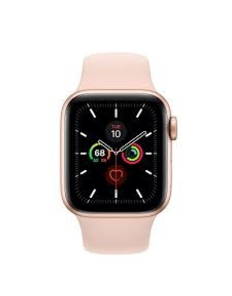 APPLE Apple Watch Series 5 GPS, 44mm Gold Aluminum Case with Pink Sand Sport Band - S/M & M/L