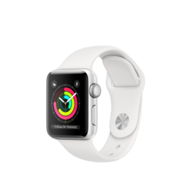 APPLE Apple Watch Series 3 38mm  (GPS Only, Silver Aluminum Case, White Sport Band)