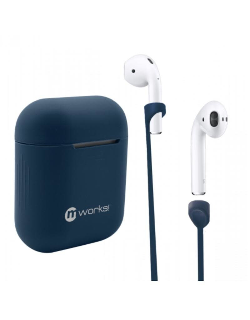 mworks! mworks! mCASE! Airpod Case Skin and Airpod Straps Bundle - Navy Blue