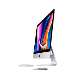 APPLE Apple 27-inch iMac with Retina 5K display 3.1GHz 6-core 10th-generation Intel Core i5 processor, Turbo Boost up to 4.5GHz 8GB 2666MHz DDR4 memory 256GB SSD storage Radeon Pro 5300 with 4GB of GDDR6 memory Gigabit Ethernet Standard glass Apple Magic Trackp