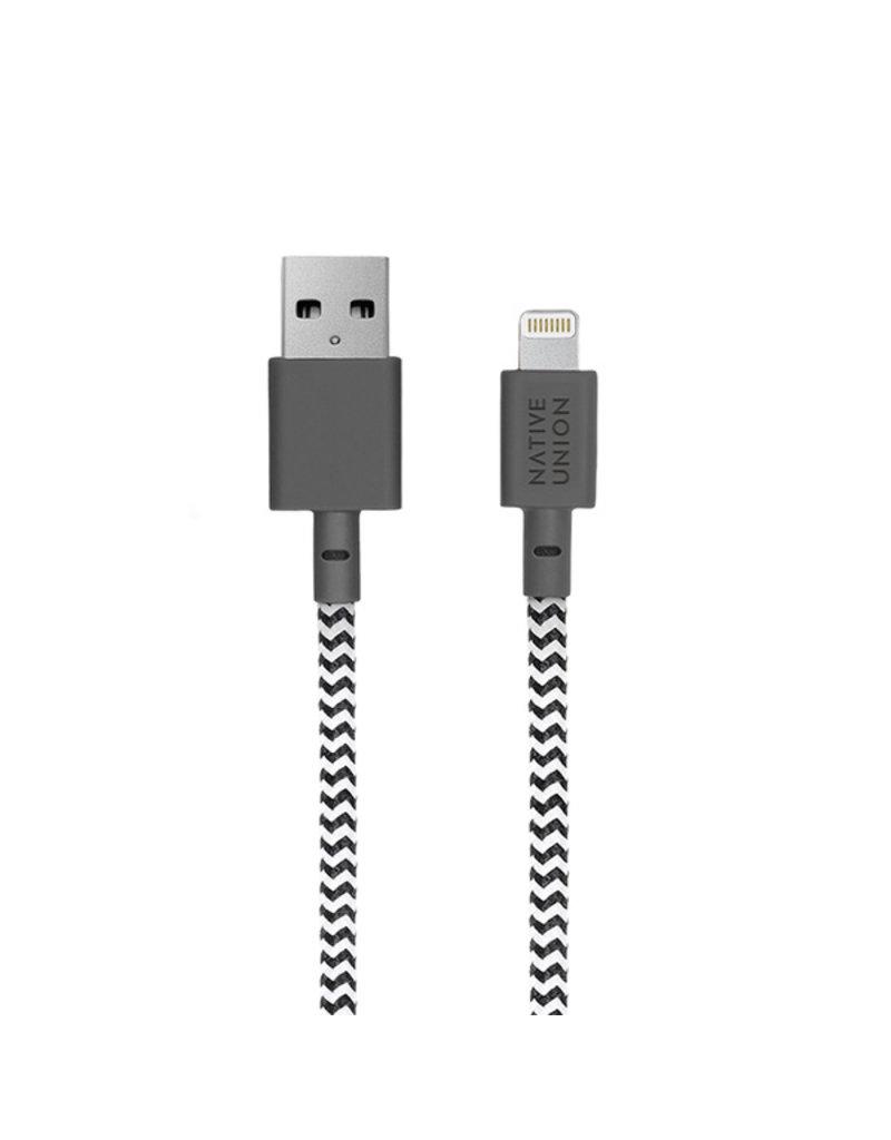 NATIVE UNION Native Union Braided Lightning Belt Cable, 1.2m - Zebra (Black&White)