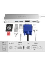 Adam Elements Adam Elements CASA Hub A03 5-in-1 USB-C Hub HDMI, 2 USB-A, VGA, SD Card Reader - Gray