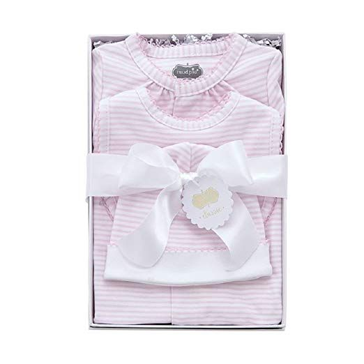 Pink and Cream Stunning Baby Girl Layette x5 Piece Set with Gift Bag by Rock a B