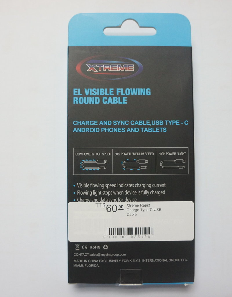 Xtreme Xtreme Rapid Charge Type-C USB Cable Blue 3Ft