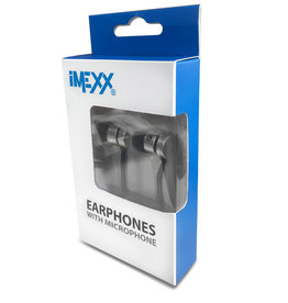 IMEXX IMEXX Earphone With Microphone FLAT Cable Black/Gray IME-21531