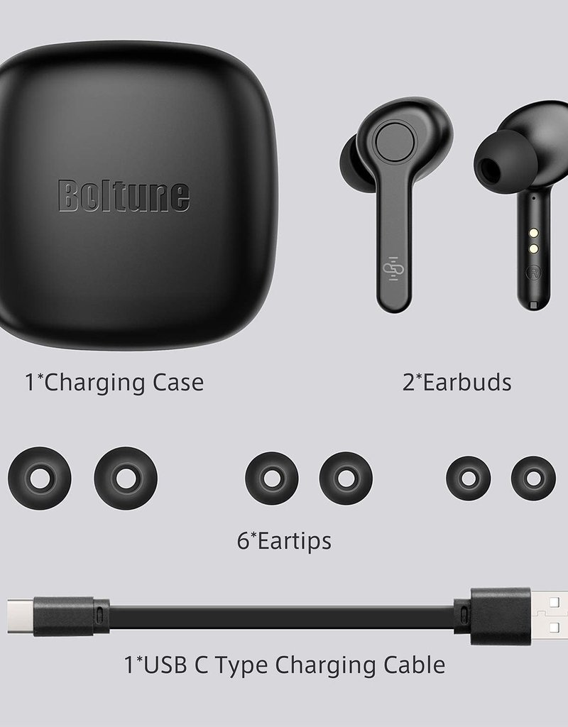 Boltune Wireless Bluetooth Earbuds In-Ear Stereo Waterproof Quick Charge W/Mic