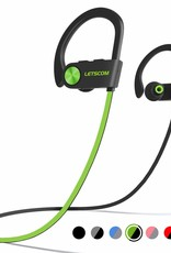 LETSCOM Bluetooth Headphone IPX7 Waterproof Noise Canceling Green