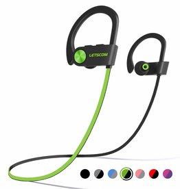 LETSCOM Bluetooth Headphone IPX7 Waterproof Noise Canceling Green