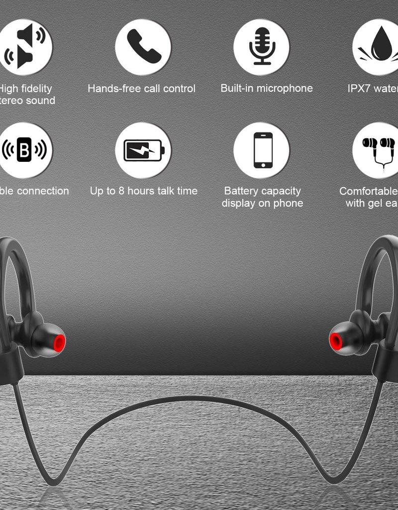 LETSCOM Bluetooth Headphone IPX7 Waterproof Noise Canceling Black/RED