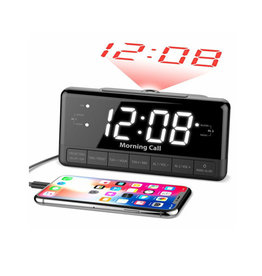 "ILUV iLuv 1.2"" Jumbo White LED Display Alarm Clock with time Projection FM & USB Charging Port MORCAL3ULBK"