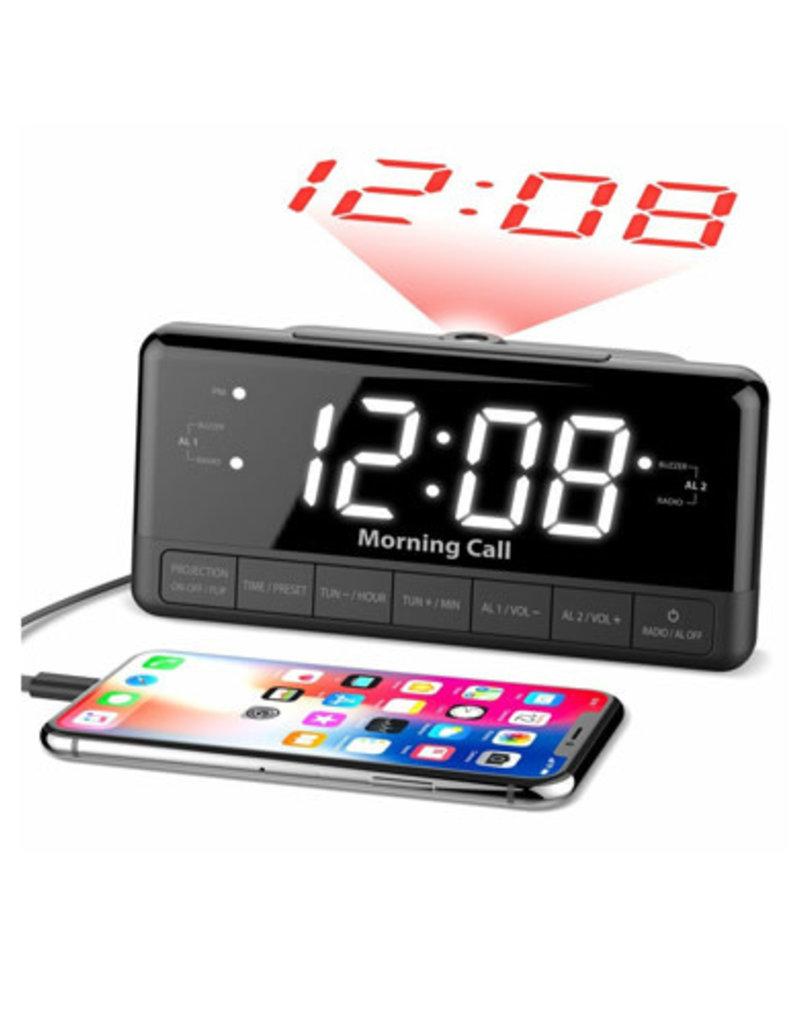 "ILUV iLuv 1.2"" Jumbo White LED Display Alarm Clock with time Projection FM & USB Charging Port MORCAL3ULBK"