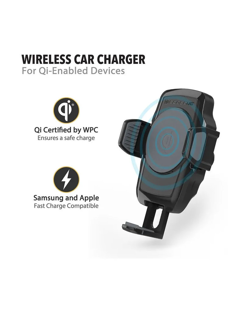 SCOSCHE Window Dash Mount Qi Wireless Fast Charger WDQ2M
