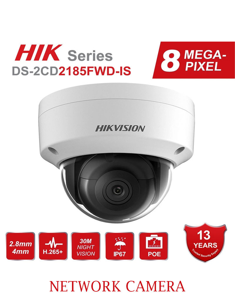 Hikvision Hikvision 8MP Network Camera DS-2CD2185FWD-IS 2.8MM Vandal Proof