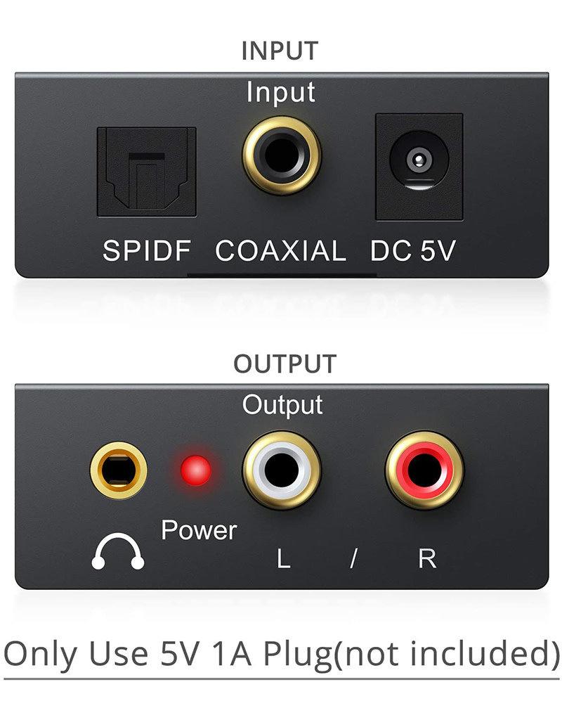 PROZOR 192KHz Digital to Analog Audio Converter SPDIF Optical to Analog 3.5mm