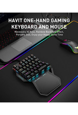 Havit One Handed Gaming Keyboard and Mouse Combo, 36 Keys Wired USB MechanicalKeypad Blue Switches LED Backlight with Wrist Rest, Programmable Mouse for PC Computer LaptopGame RK-B20 3 Months Warranty