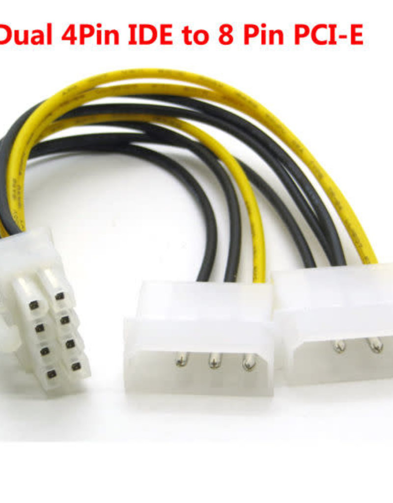 Xtech 8 Pin to Dual Molex Power Cable