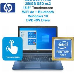 "HP HP 15-DA0021 Pentium® Gold G5405U 2.3GHz 256GB SSD 8GB 15.6"" (1366x768) TOUCHSCREEN DVD-RW BT WIN10 Webcam JASMINE BLUE Factory Recertified"