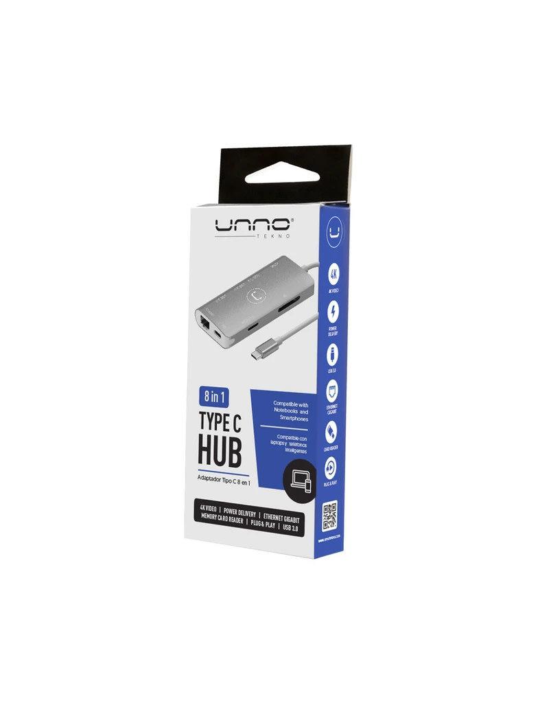 UNNO Unno Tekno Hub Type C 8 in 1 HDMI, 3 x USB3.0, RJ45, SD & Micro SD HB1108SV