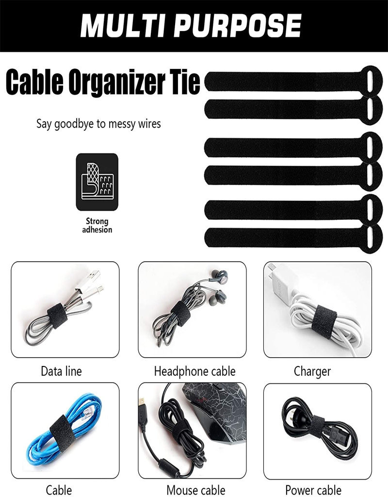 60PCS Reusable Fastening Cable Ties, 8-Inch Cable Management, Cable Organizer