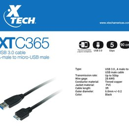 Xtech Xtech XTC-365 USB 3.0 A Male to micro USB Male
