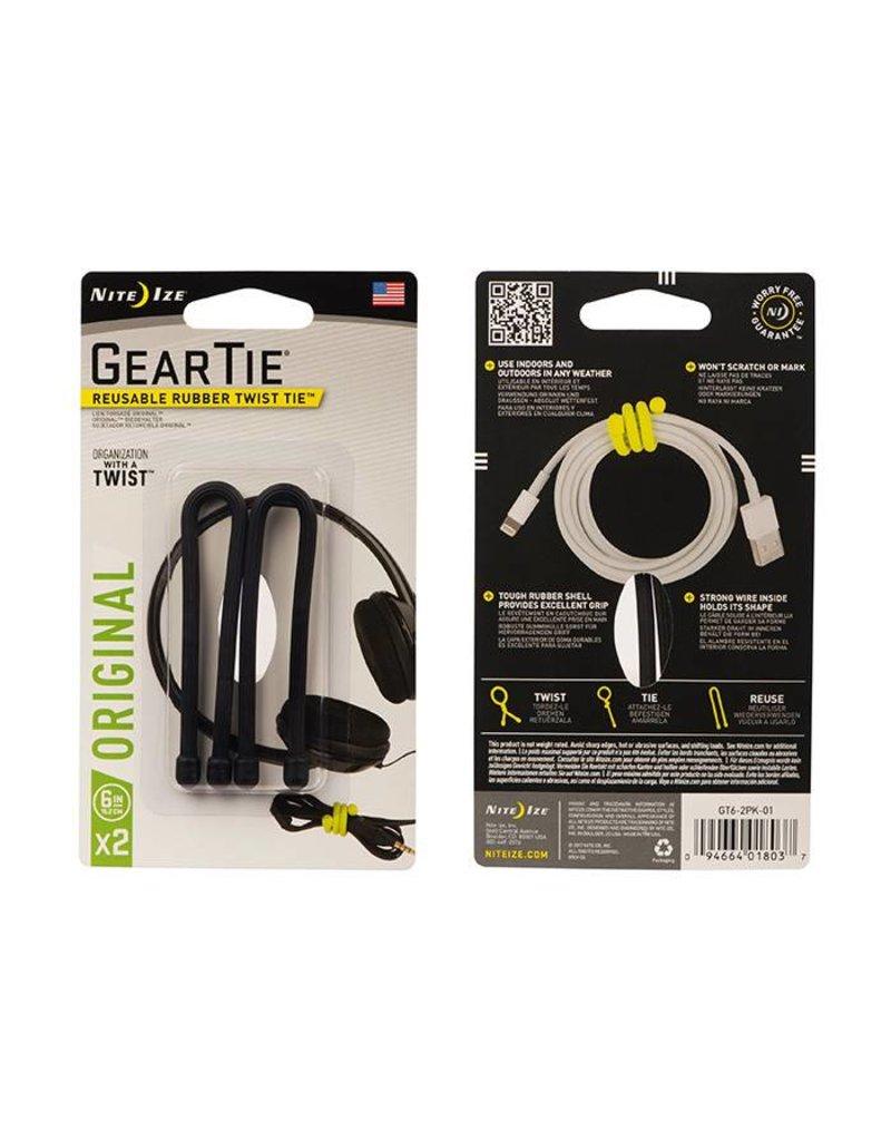 Nite Ize Gear Tie® Reusable Rubber Twist Tie™ 6 in. - 2 Pack - Black