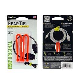 Nite Ize Gear Tie® Reusable Rubber Twist Tie™ 6 in. - 2 Pack - Bright Orange