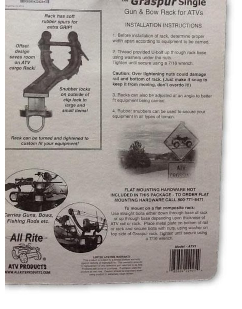 All Rite Products, Inc. All Rite: Graspur Single ATV Gun and Bow Rack with Spurs