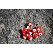 UV Bead, 8mm Fish Eye Red, 10/Bag