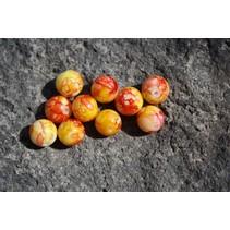 UV Bead, 8mm Marble Roe Yellow, 15/Bag