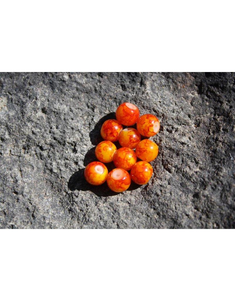 Hevi Beads Bead, 8mm, Blood Vein Orange, 15/Pack