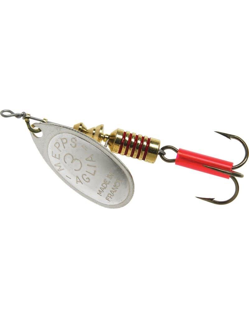 Mepps Mepps B3 S Aglia In-Line Spinner 1/4 oz, Plain Treble Hook, Silver