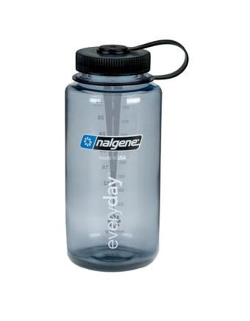 Nalgene Wide Mouth 1 QT Bottle Gray w/Blue Lid