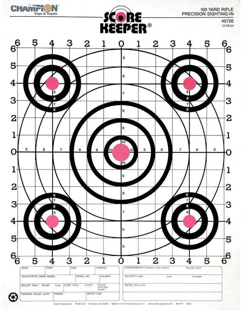 Champion (Vista Outdoors) 45726 Champion 100 YD RIFLE SIGHTIN, O/B (12 PK)