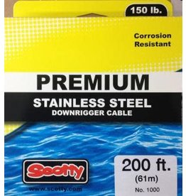 Scotty 1000 Scotty Premium Stainless Steel Downrigger Cable, 150lb Test, 200