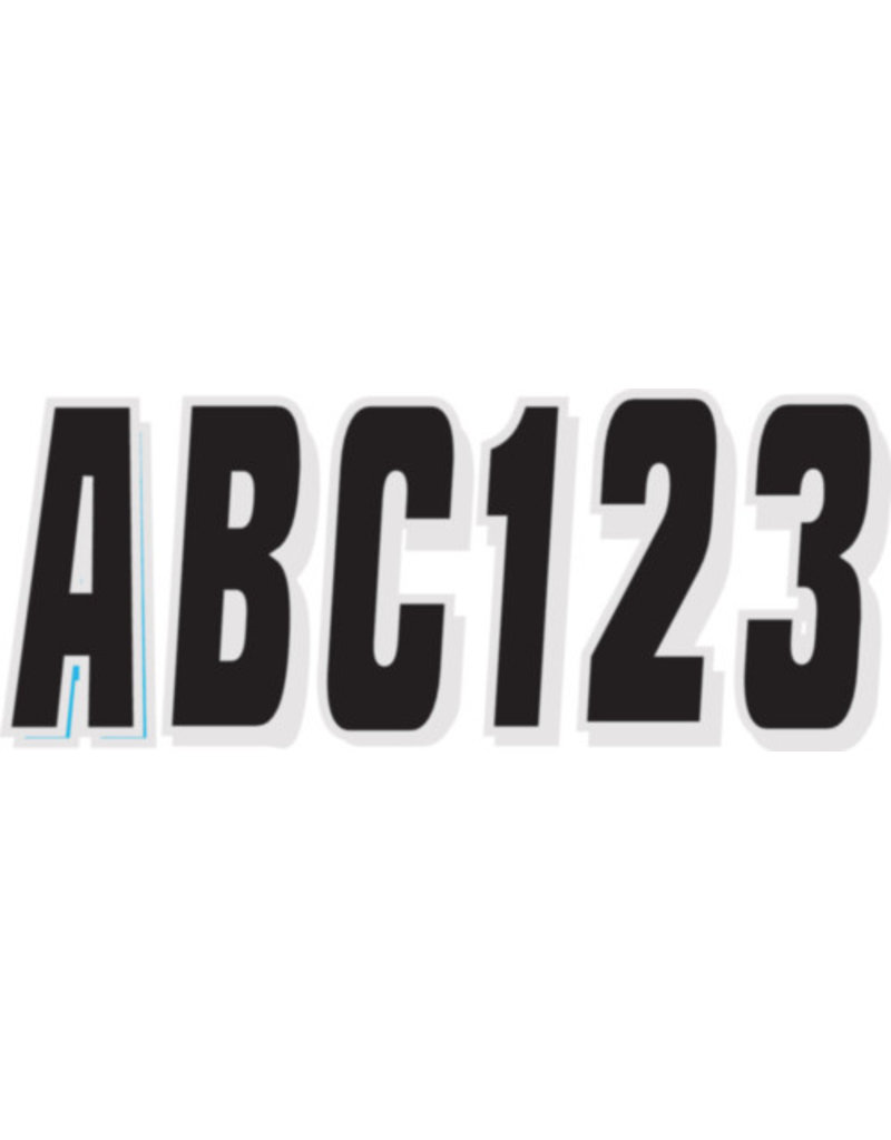 "Hardline Products Hardline Series 320 Registration Kit, Solid Color Block Font With Drop Shadow (Includes 4 Sets of 3"" A-Z, 0-9), Black/Silver"