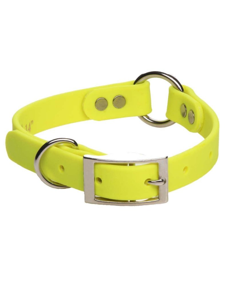 "Mendota Products DURASOFT IMITATION LEATHER COLLAR - CENTER RING Yellow 3/4"" x 14"""