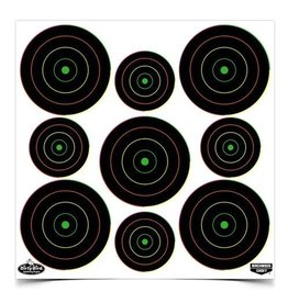 "Birchwood Casey 35828 Dirty Bird® 2"", 3"" Multi-Color Bull's-eye Target (80 - 2"" & 100 - 3"") - 20 sheets"