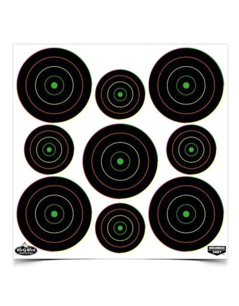 "Birchwood Casey 35828 Dirty Bird® 2"", 3"" Multi-Color Bull's-eye Target (80 - 2"" & 100 - 3"") - 20 sheets"