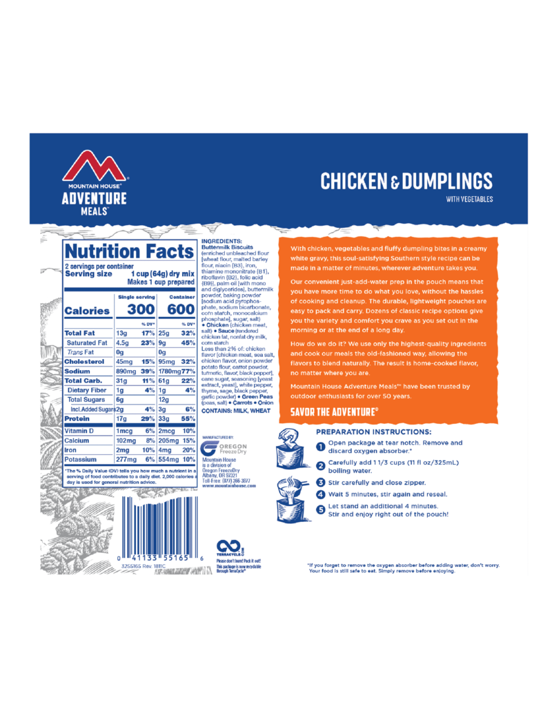 Mountain House Chicken & Dumplings CLEAN LABEL
