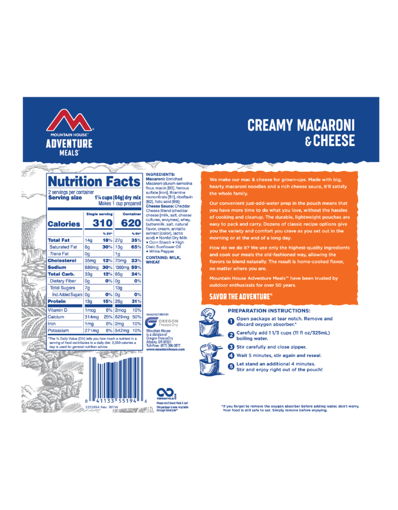 Mountain House Creamy Macaroni & Cheese CLEAN LABEL