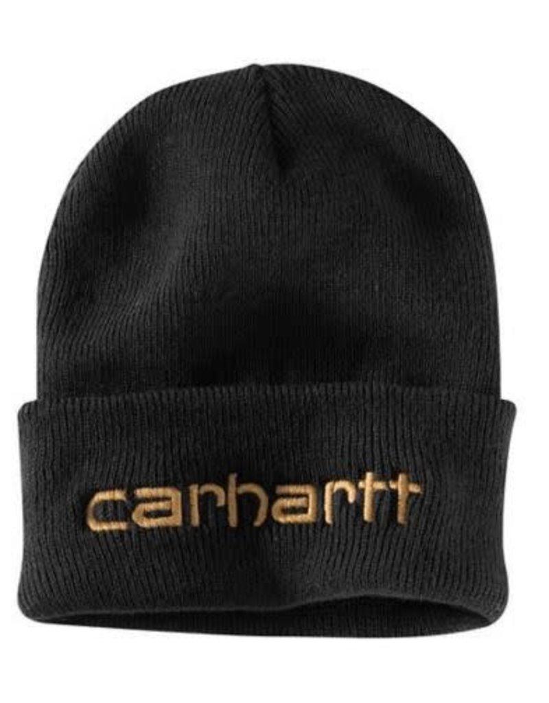 Carhartt Men's Teller Hat, 104068-001OFAA M Knt Ins Logo Grphc Cffd Beanie 001-Black