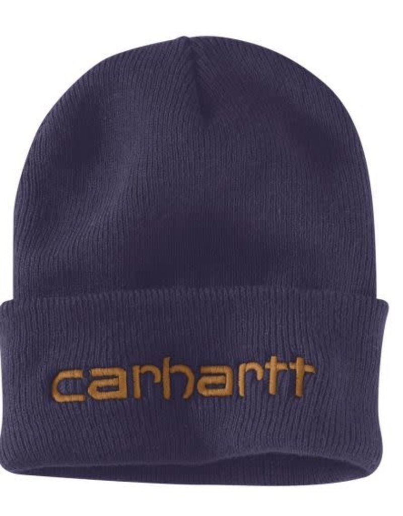 Men's Carhartt Teller insulated knit hat. Color: dusk blue, 104068-I34OFAA M Knt Ins Logo Grphc Cffd Beanie I34