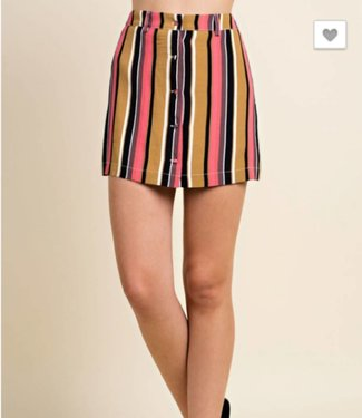 Honey Punch Striped Button Down Skirt