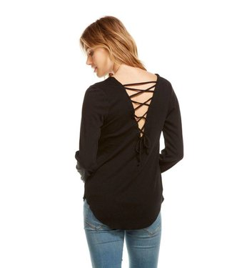 Chaser Vintage Rib Lace Back Shirttail