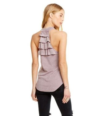 Chaser Vintage Rib Tiered Ruffle Back Top