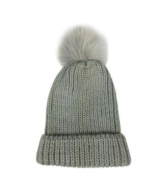 Hat Attack Tonal Pom hat Gray