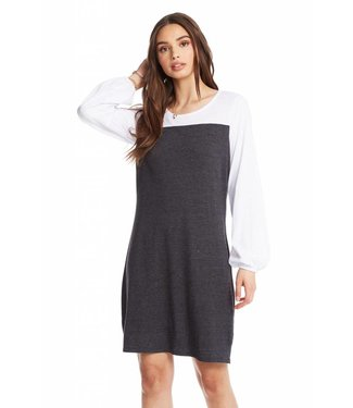 Chaser BLOCKED JERSEY BLOUSON SLEEVE MINI DRESS