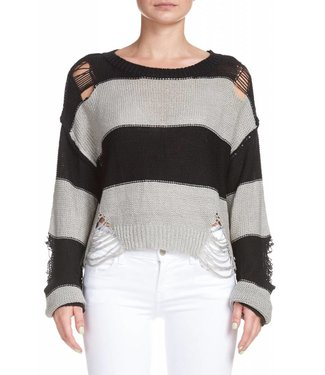 Elan Stripe Distressed Sweater