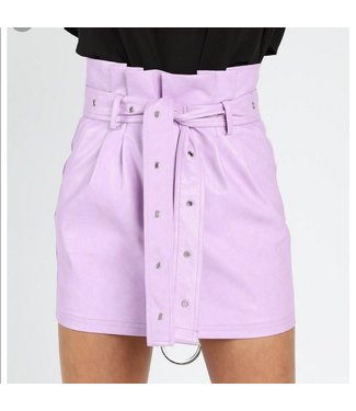 Honey Punch Lavender Leather Skirt